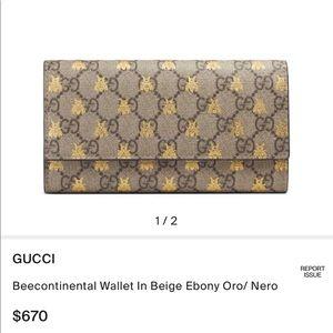 GUCCI Beecontinental Wallet In Beige Ebony Oro